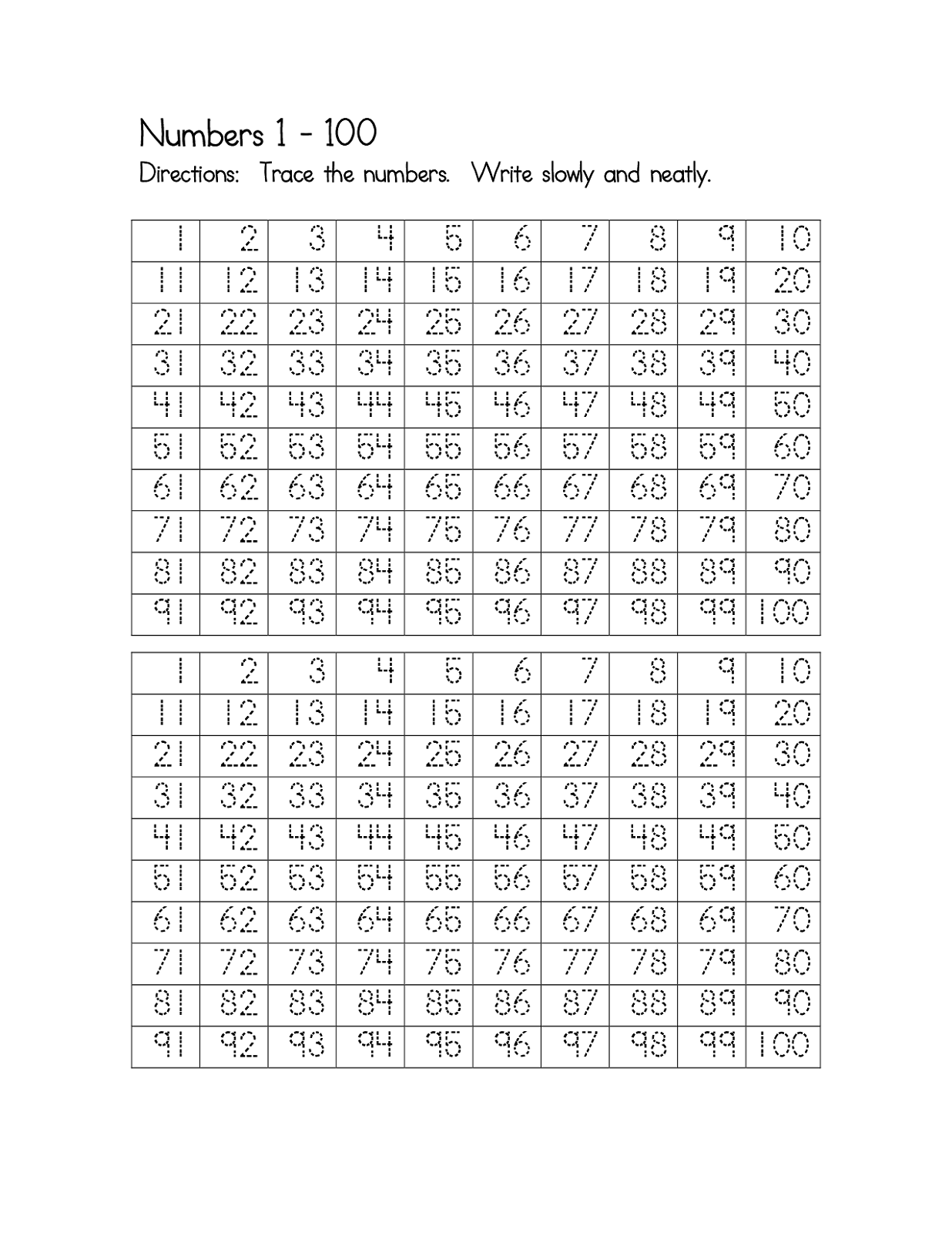 Printable Number Trace Worksheets – Free Number Tracing Worksheets