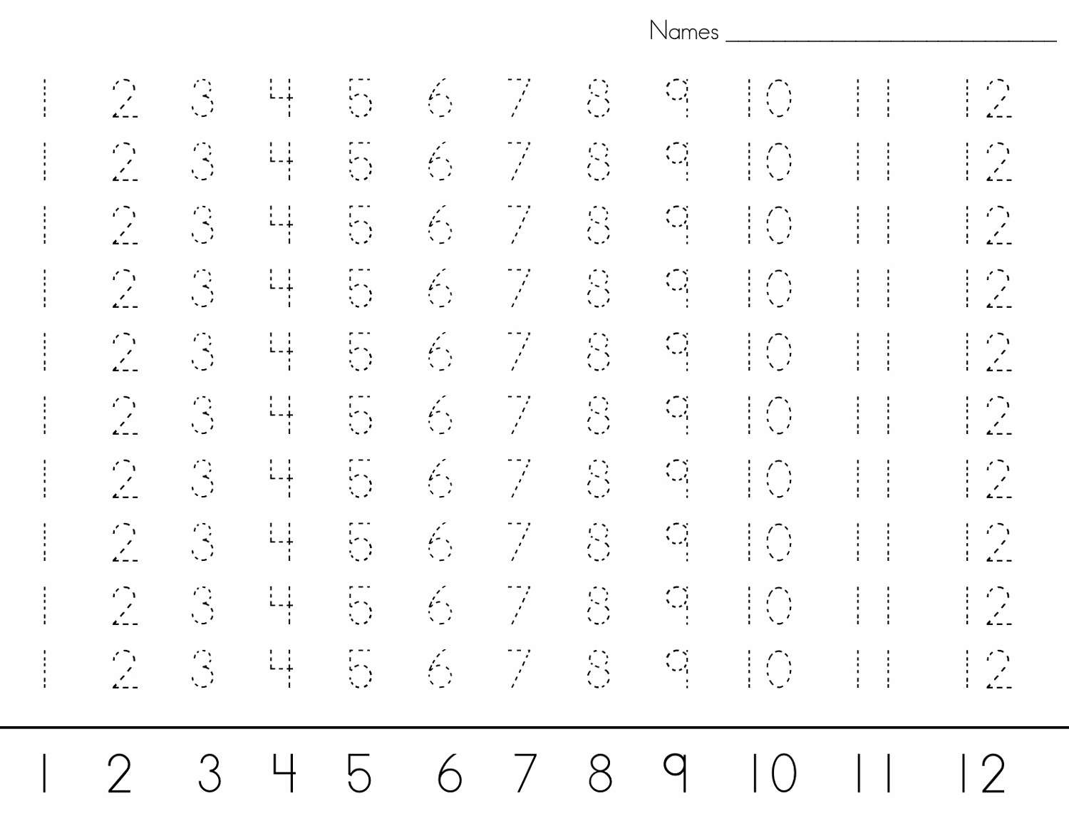 Printable number trace worksheets activity shelter number trace worksheet 1 12 robcynllc Gallery