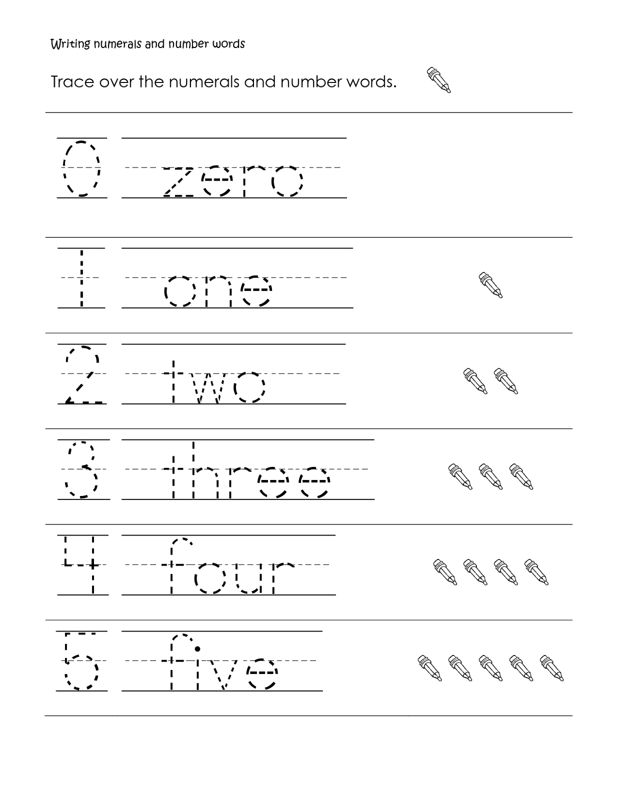 Numbers tracing printables for preschoolers - Number Trace Worksheet Children
