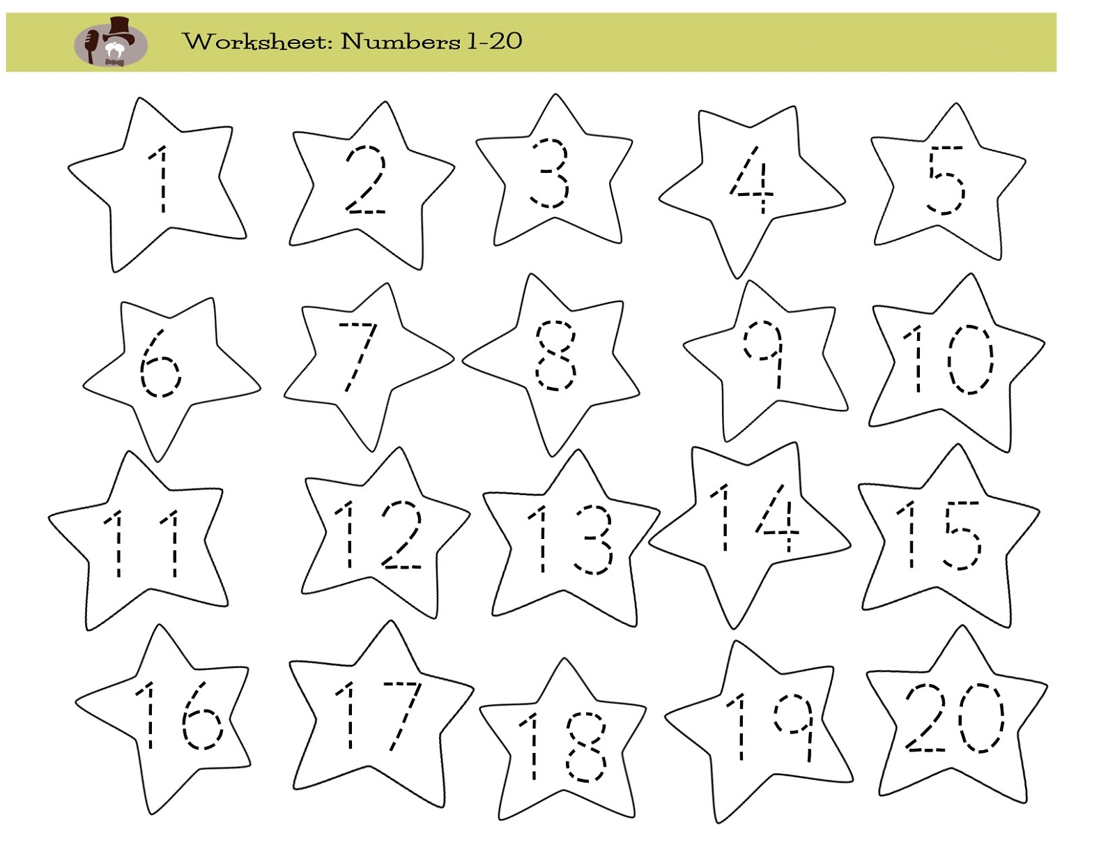 number-trace-worksheet-star