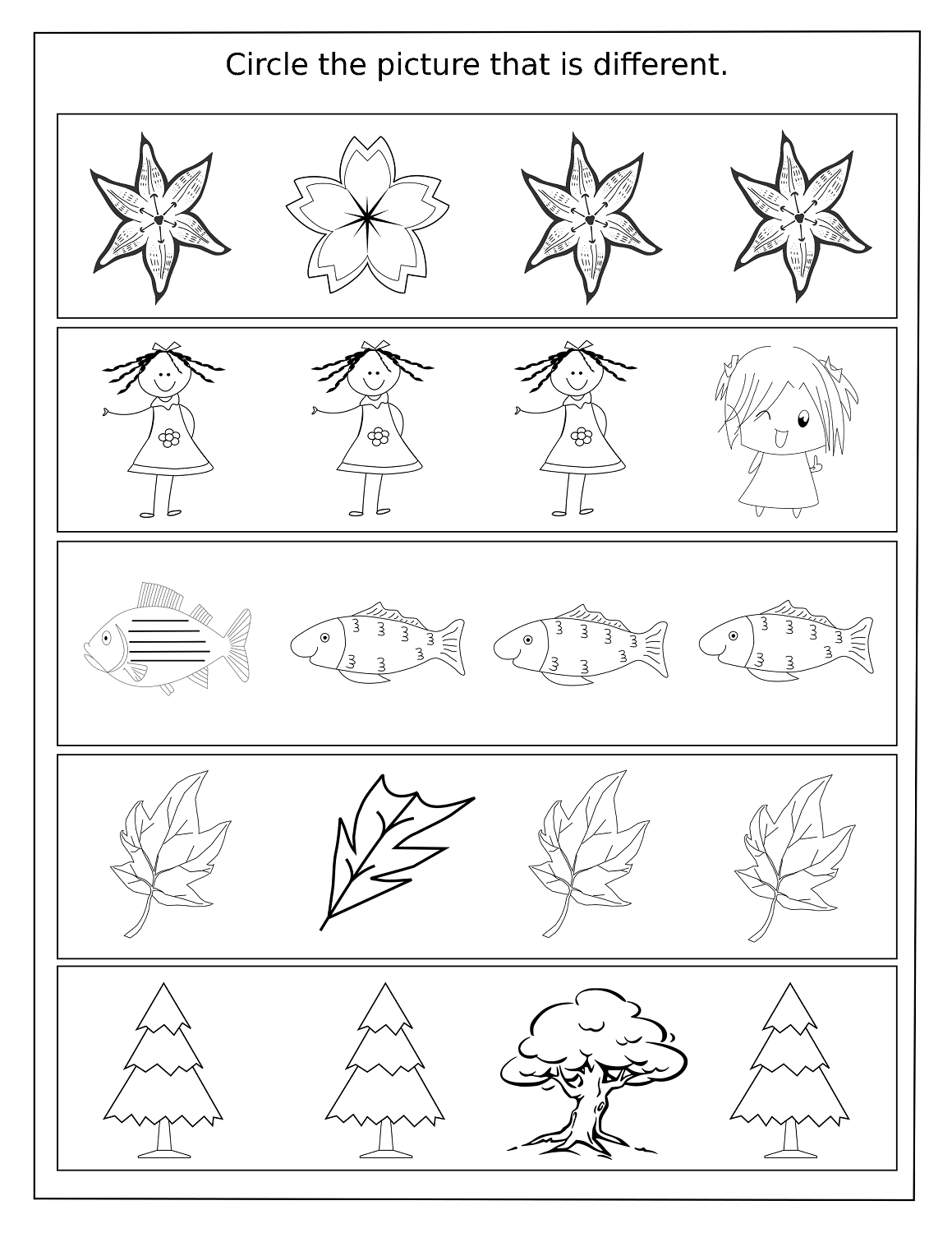 Simple Same and Different Worksheets – Same Different Worksheets