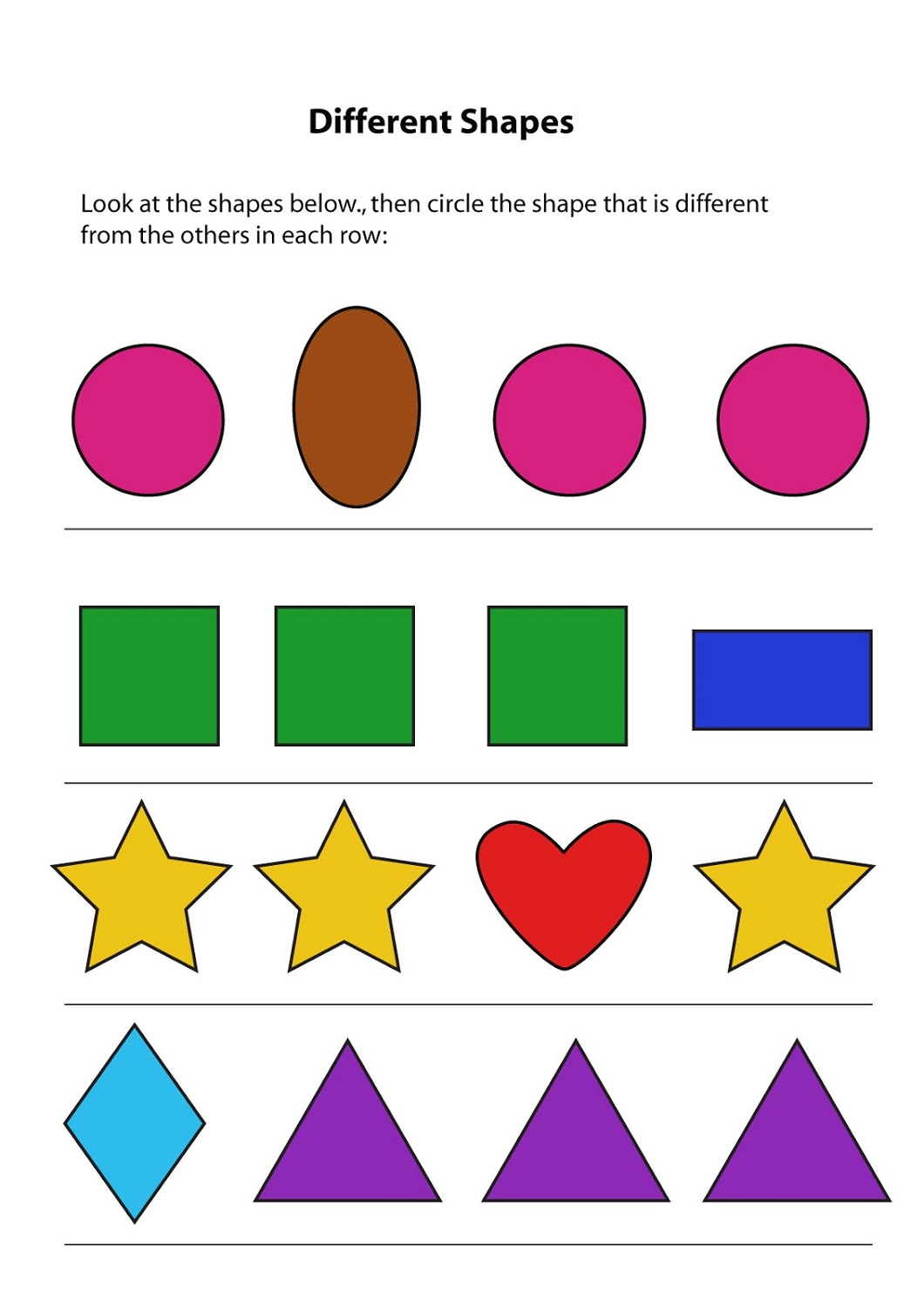 Simple Same and Different Worksheets | Activity Shelter
