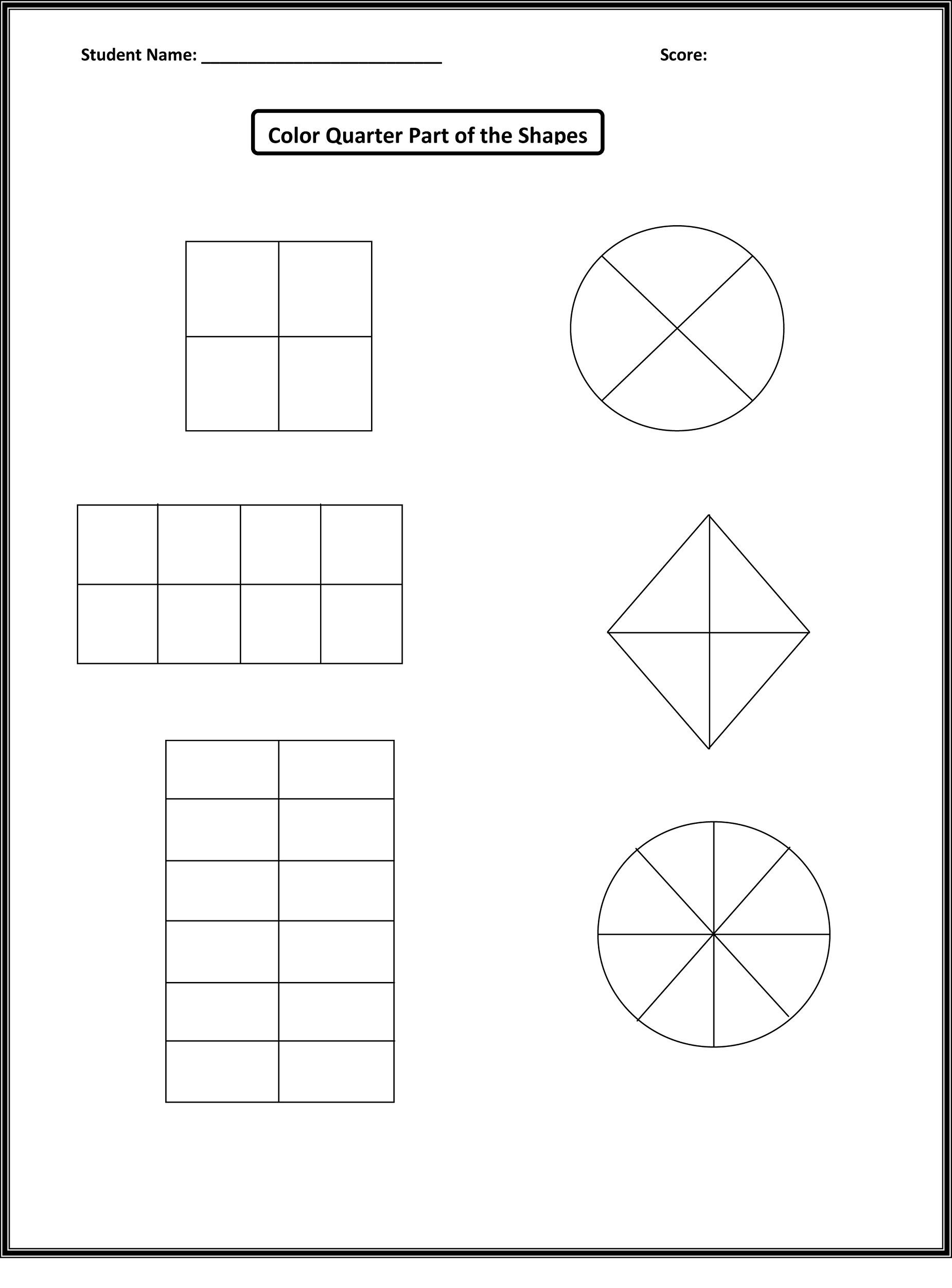 shapes worksheets for kids quarter
