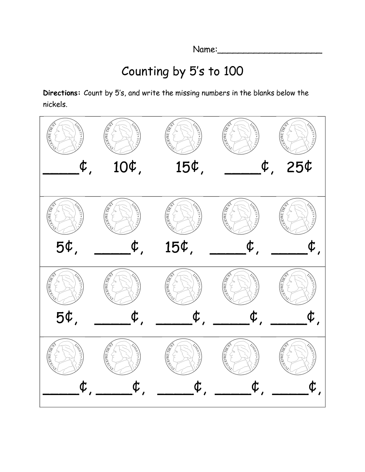 Skip Count by 5 Worksheets – Counting by 5 Worksheets