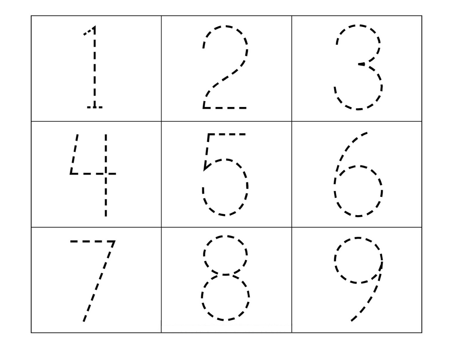 Trace Numbers Worksheets | Activity Shelter