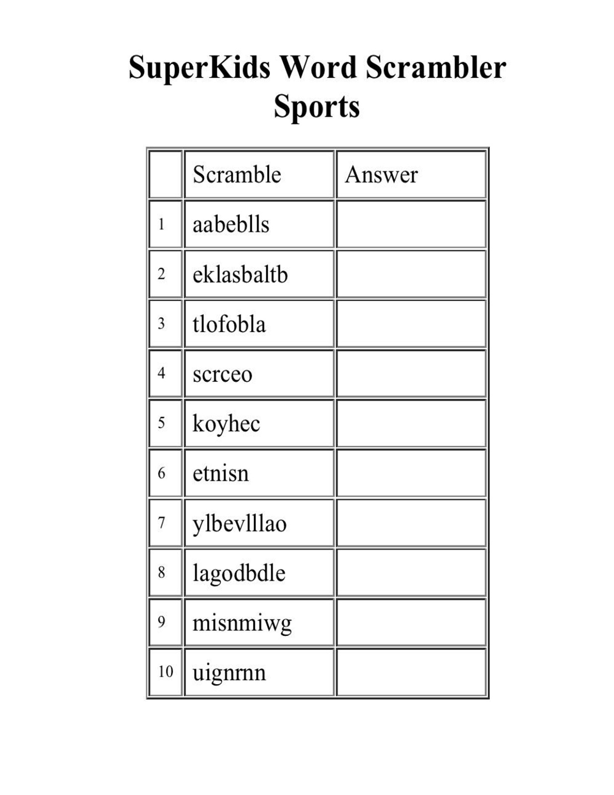 Word Scramble Worksheet Maker : Usable scrambled words worksheets with answers goodsnyc