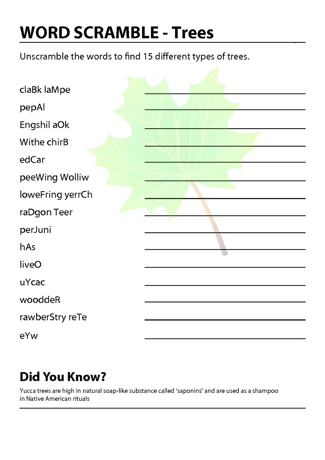 Free Word Scrambles Worksheets – Word Scramble Worksheet