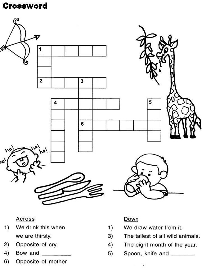 Easy Kids Crossword Puzzles Simple