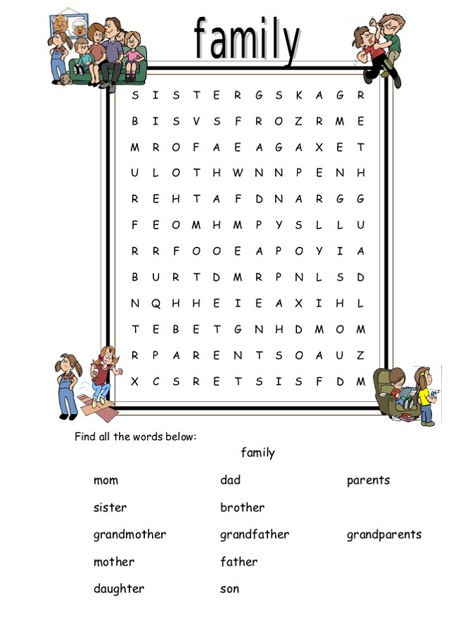 Family Word Search Printable Activity Shelter