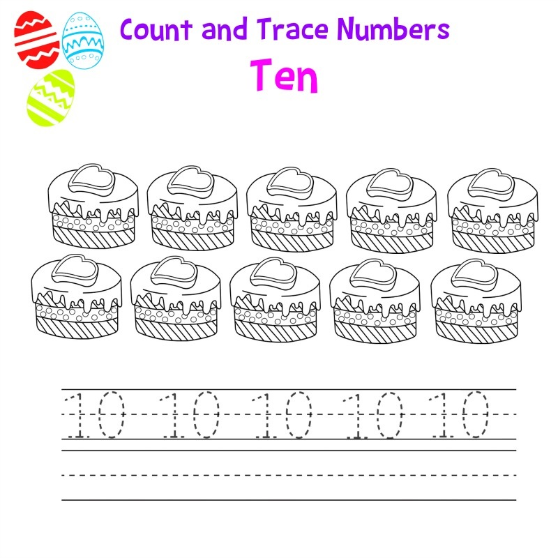 number-10-worksheet-cake