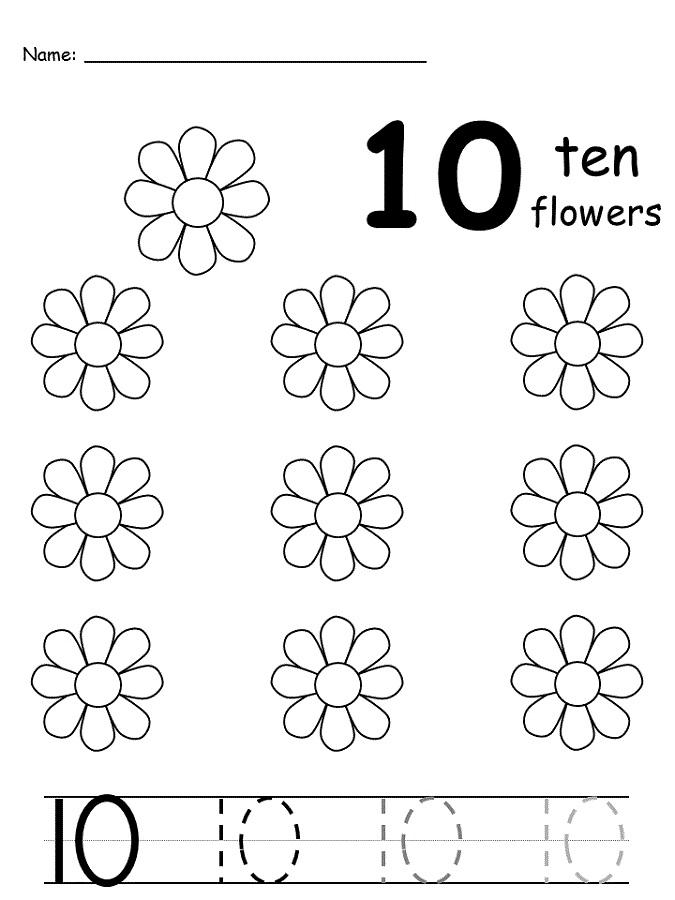 number-10-worksheet-flower