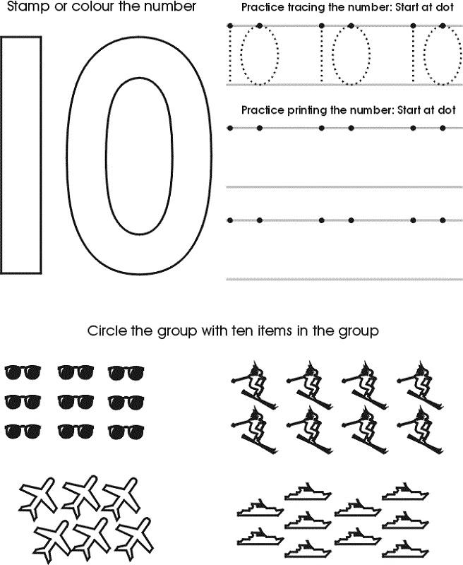 Number 10 Worksheets   Activity Shelter