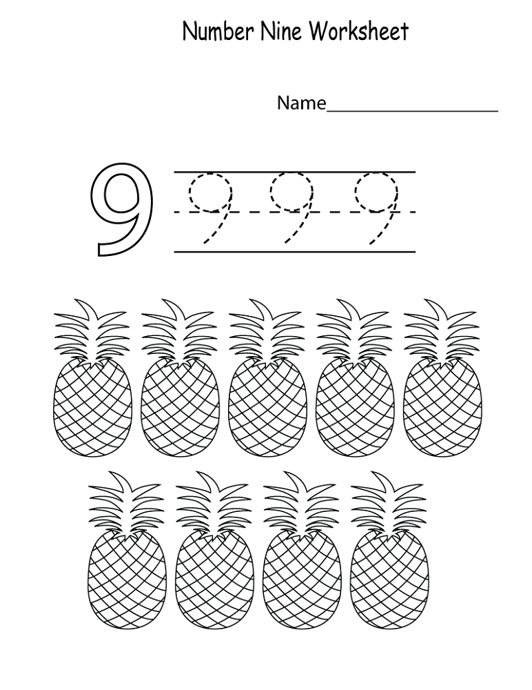 number-9-worksheet-pineapple