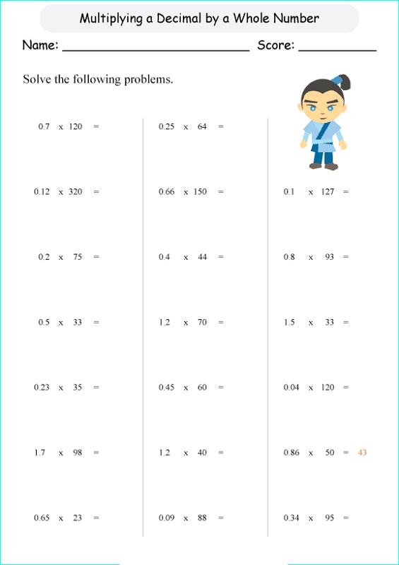 5th grade math worksheets rounding decimals
