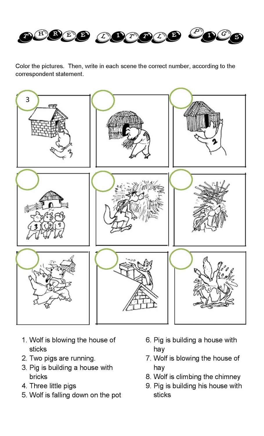 Coloring pages 3 little pigs - The Three Little Pigs Worksheets Matching