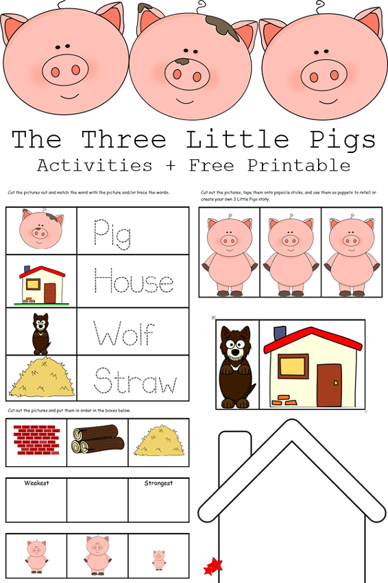 The three little pigs worksheets activity shelter for The three little pigs puppet templates