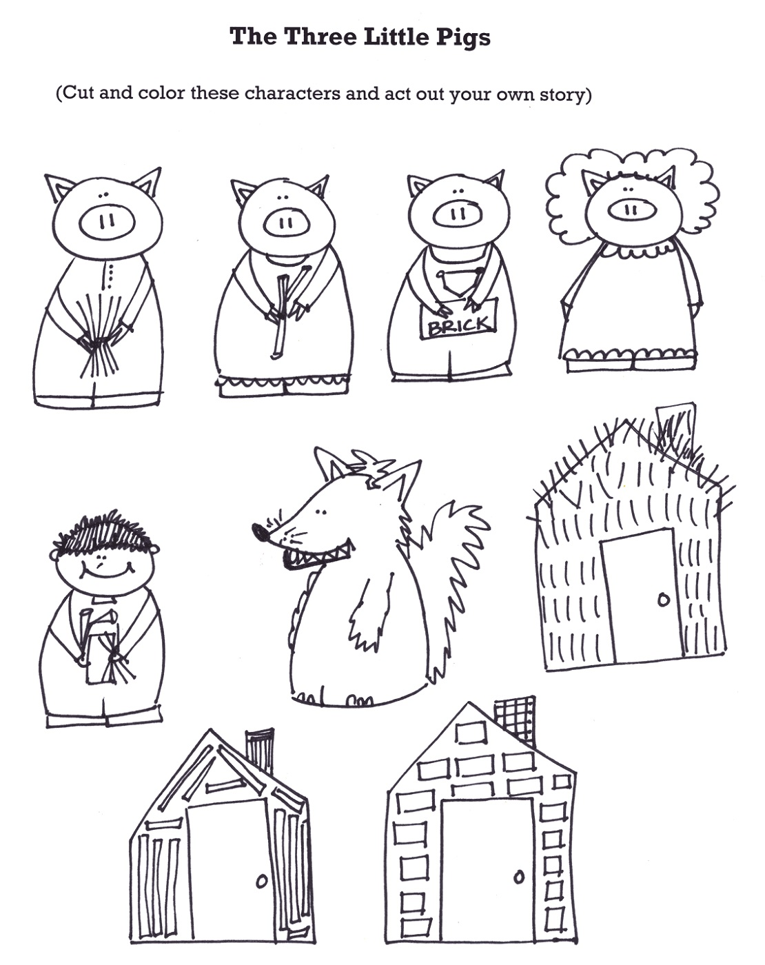 It is a photo of Juicy Three Little Pigs Printable Story