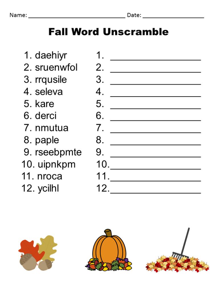word-scramble-worksheets-fall