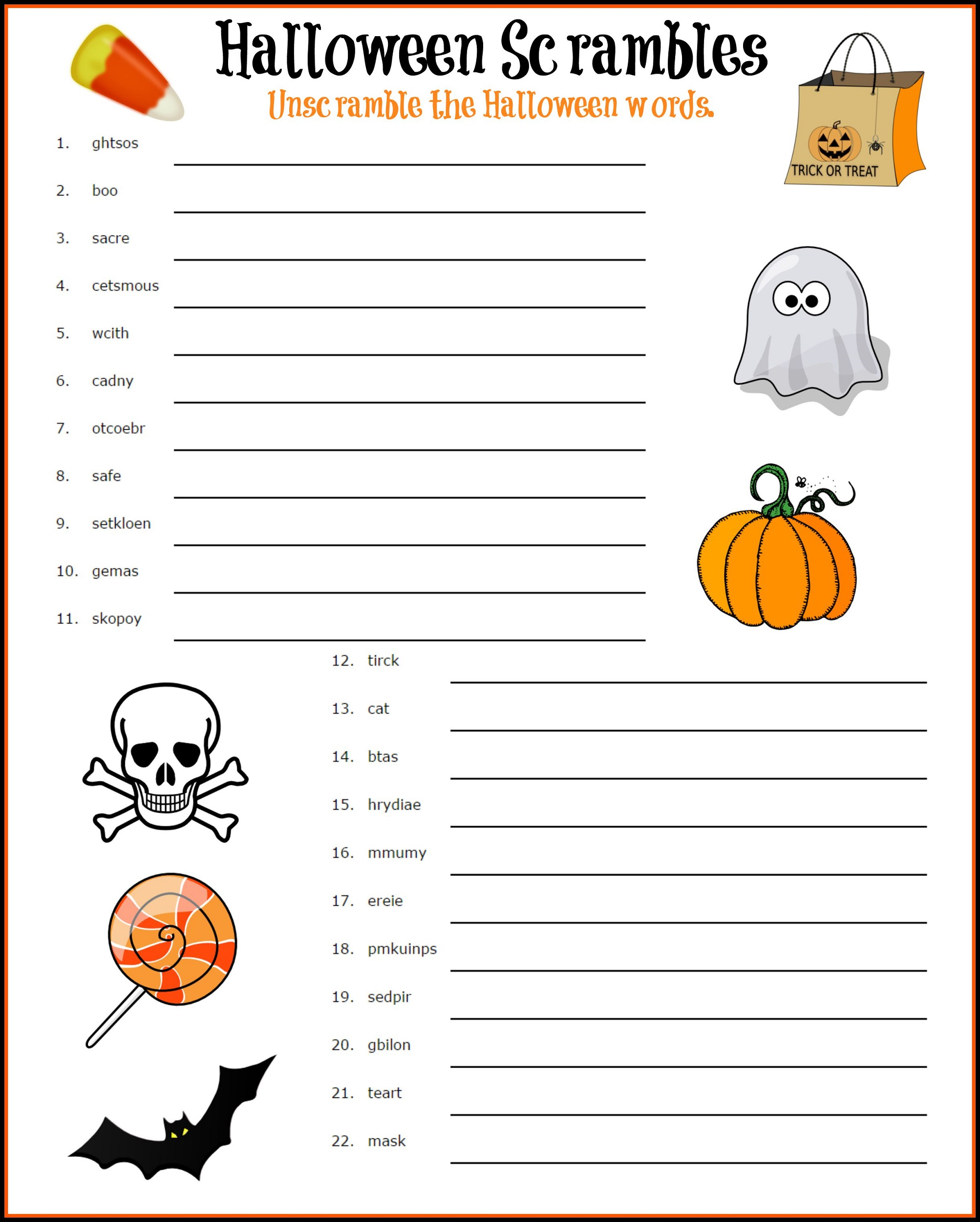Word Scrambles Worksheets : Activity Shelter