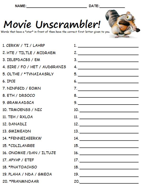 Word Scrambles Worksheets – Word Scramble Worksheet