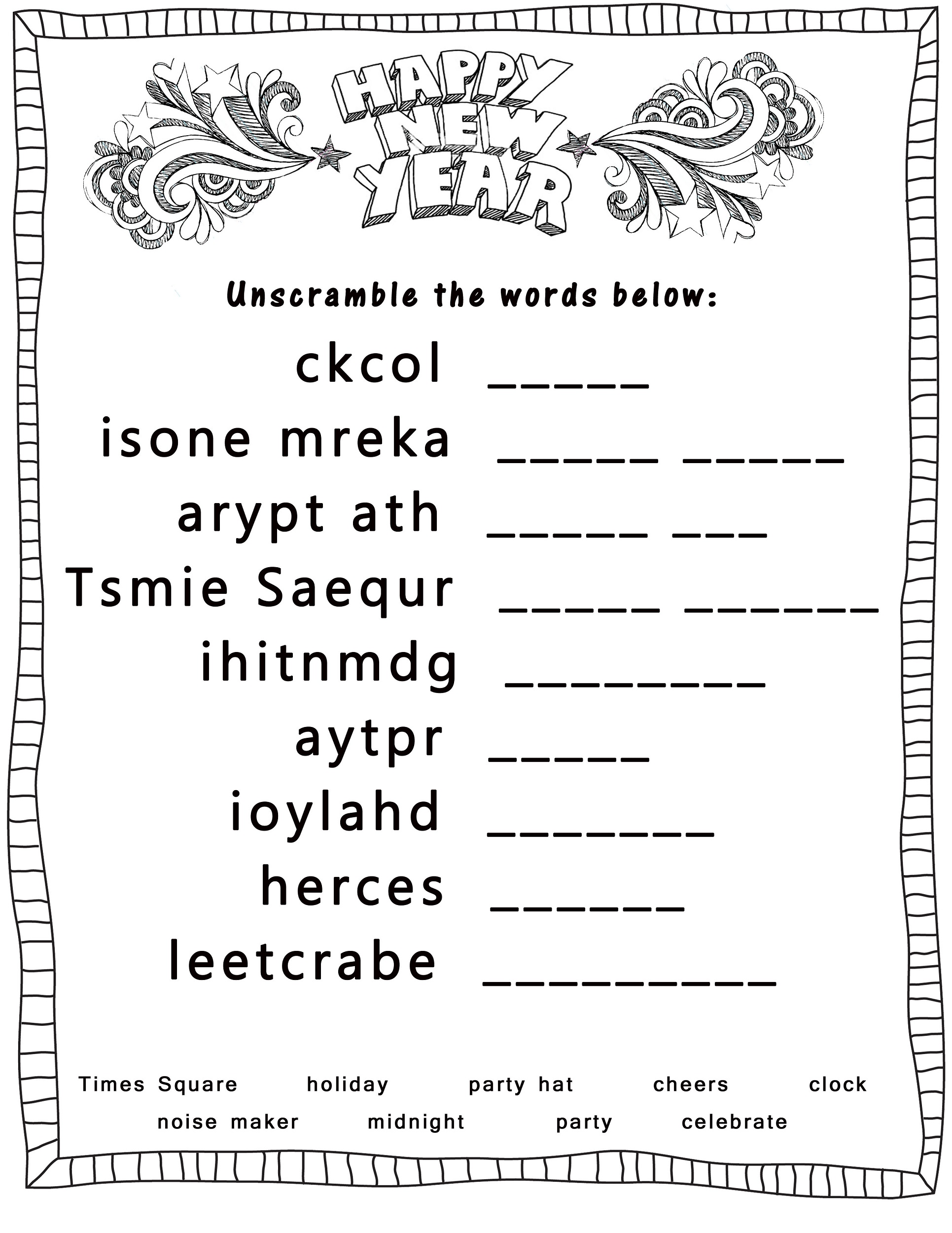 word-scramble-worksheets-new-year