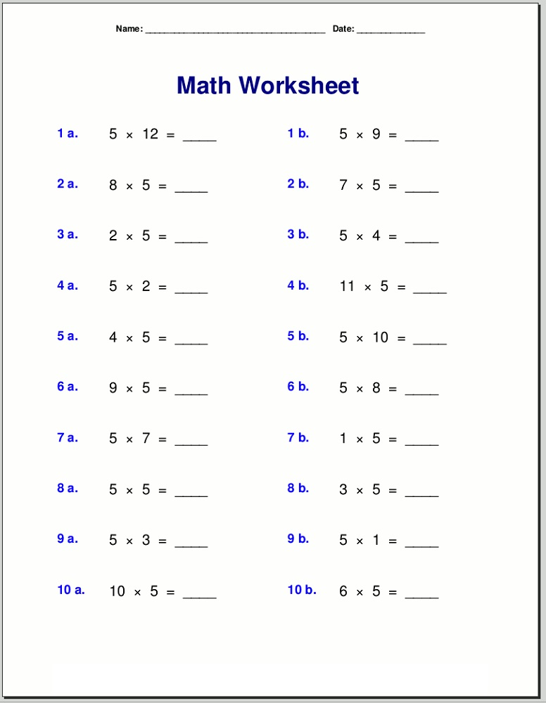 5 times table worksheet multiplication