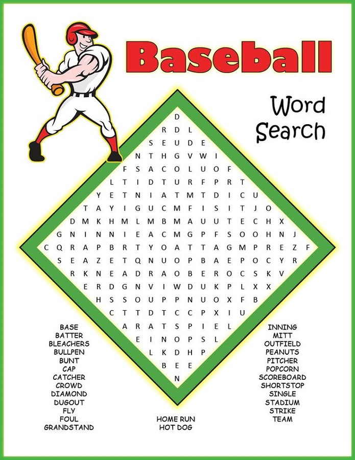 baseball word searches free