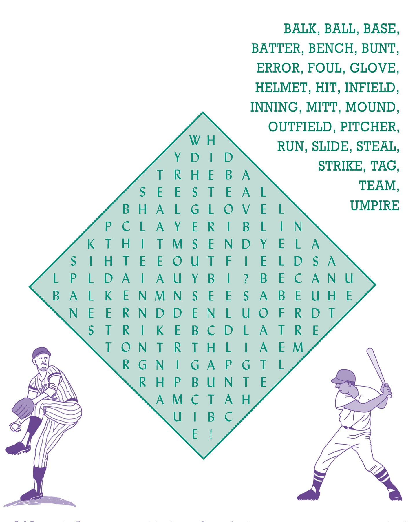 baseball word searches large