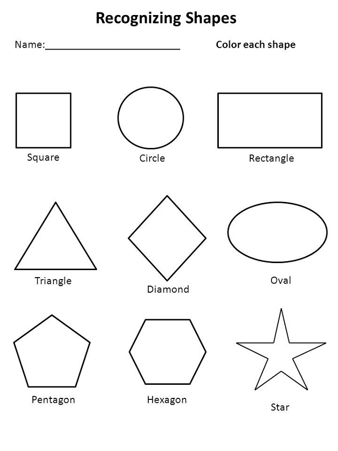 color the shapes worksheet children