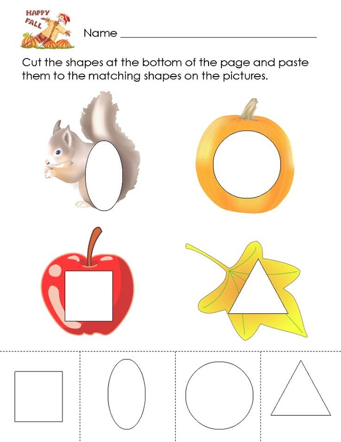 color the shapes worksheet kindergarten