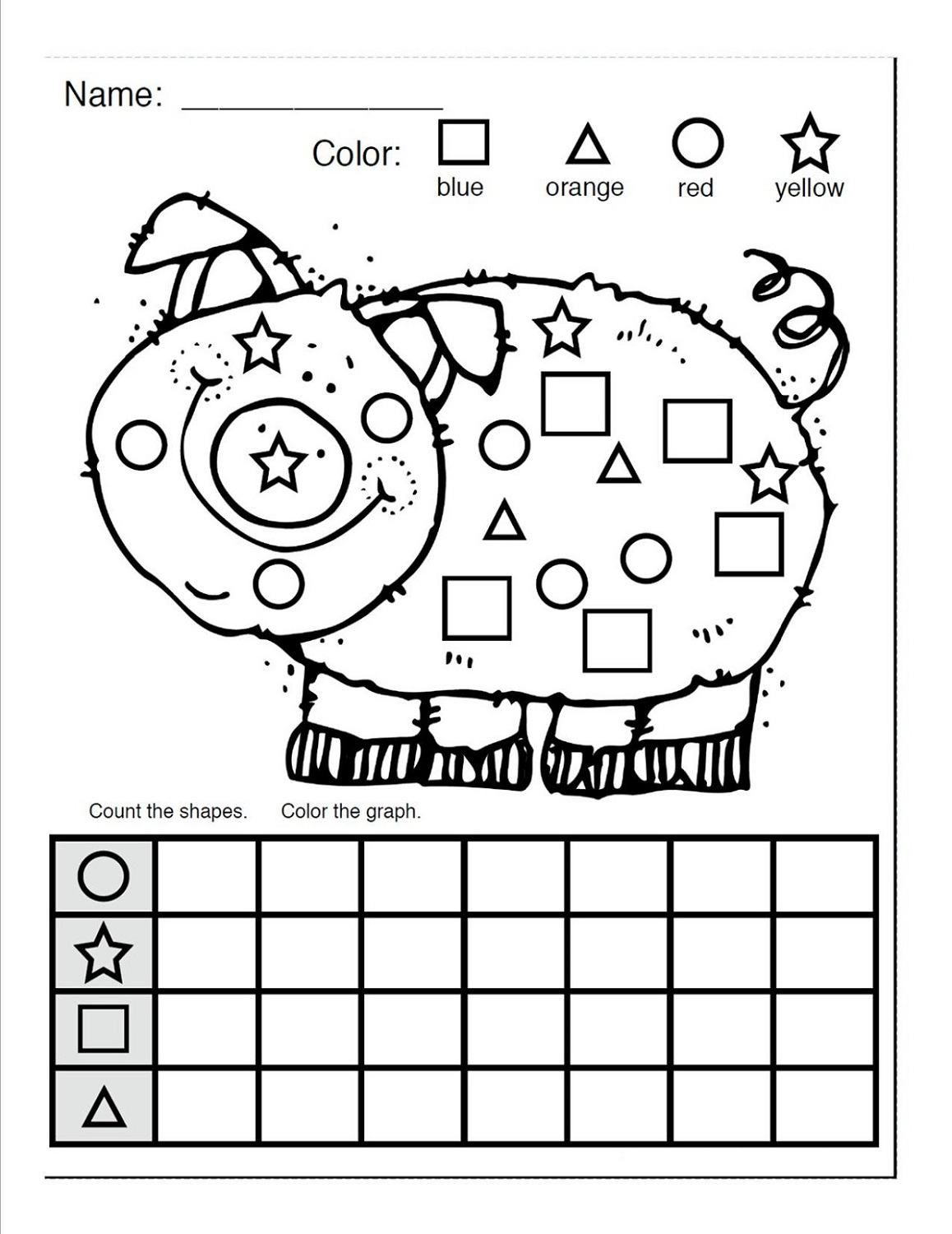 color the shapes worksheet piggy