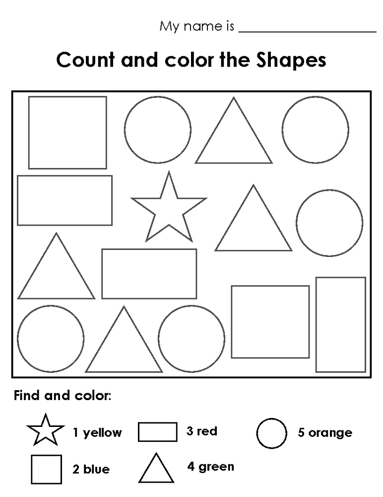 Color the shape worksheets activity shelter for Color by shape coloring pages