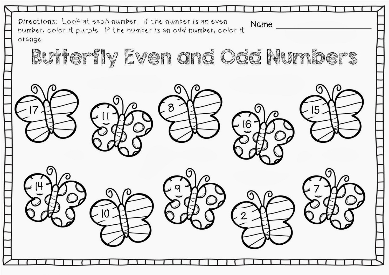 Free Odd and Even Worksheets – Odd and Even Numbers Worksheets
