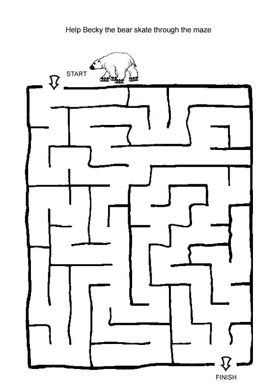 mazes for kids bear