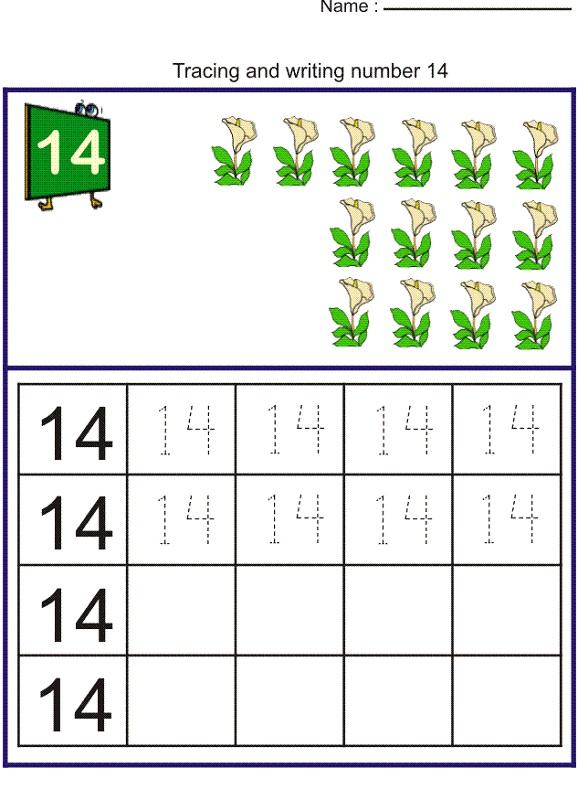 number 14 worksheets for kids
