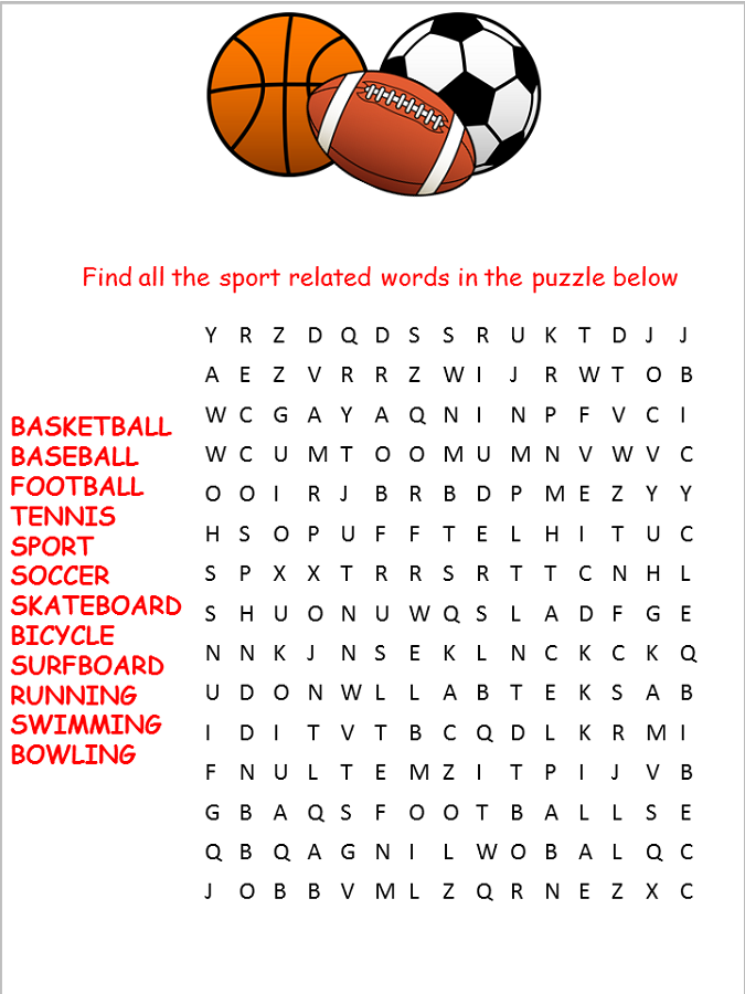 printable sports word search for kids activity shelter. Black Bedroom Furniture Sets. Home Design Ideas