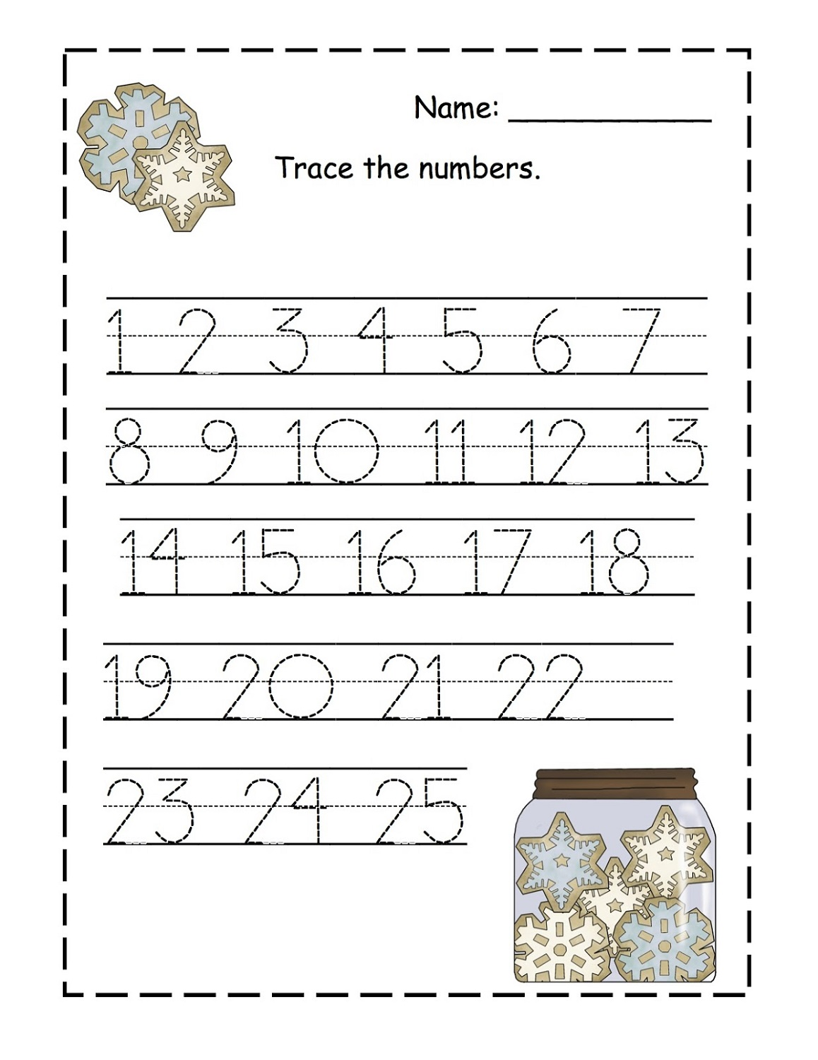 trace the numbers worksheet