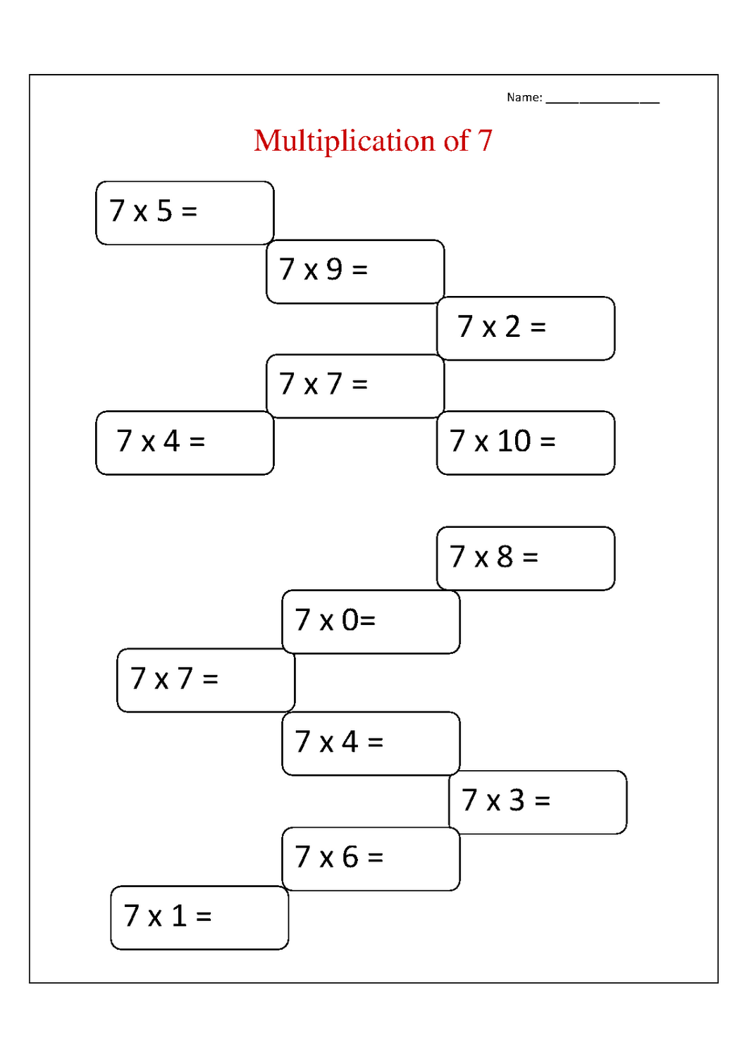 7 times tables worksheet to print