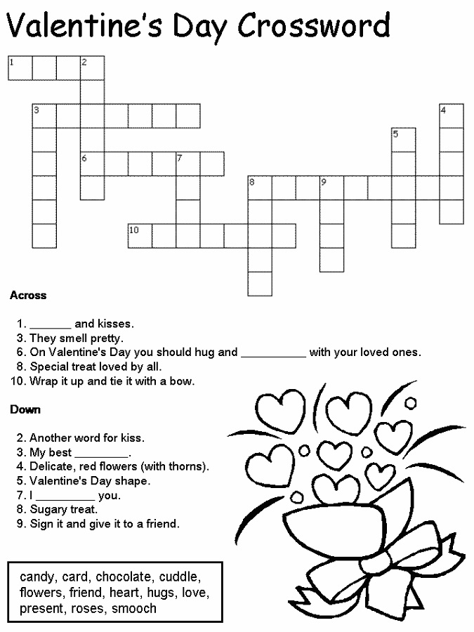 image regarding Valentine Crossword Puzzles Printable titled Crossword Puzzle Little ones Game Shelter