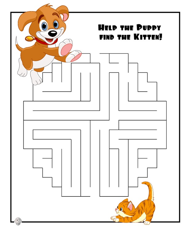 maze for children kitten