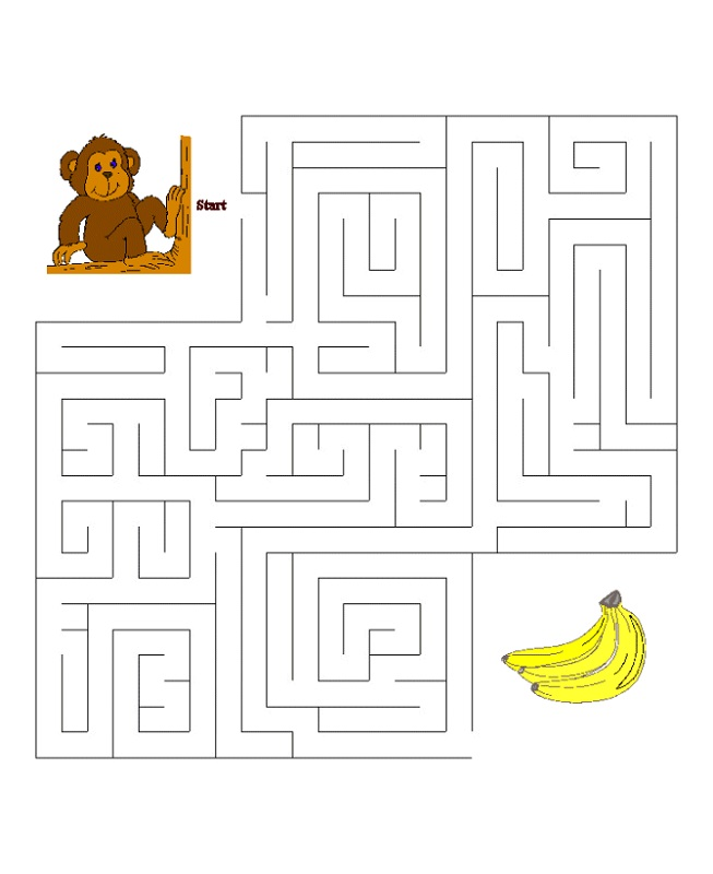maze puzzles for kids monkey