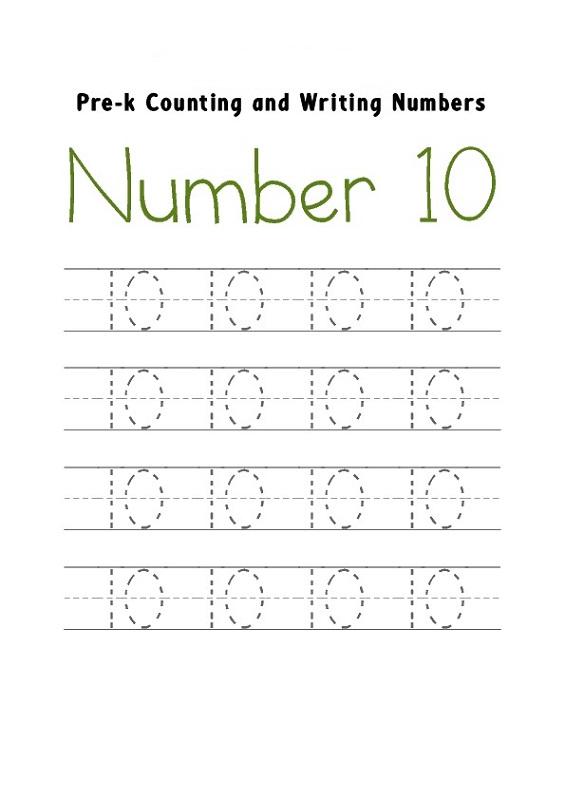 number 10 worksheets for kindergarten