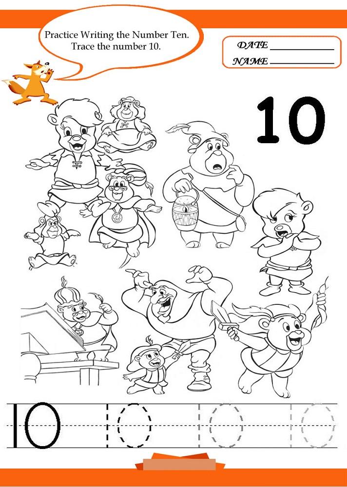 number 10 worksheets pre k