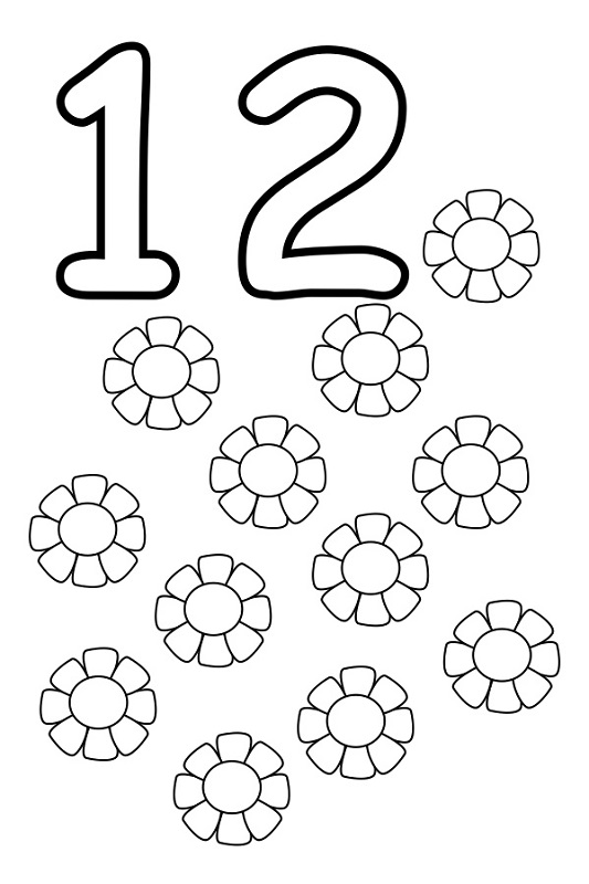 number 12 worksheet coloring
