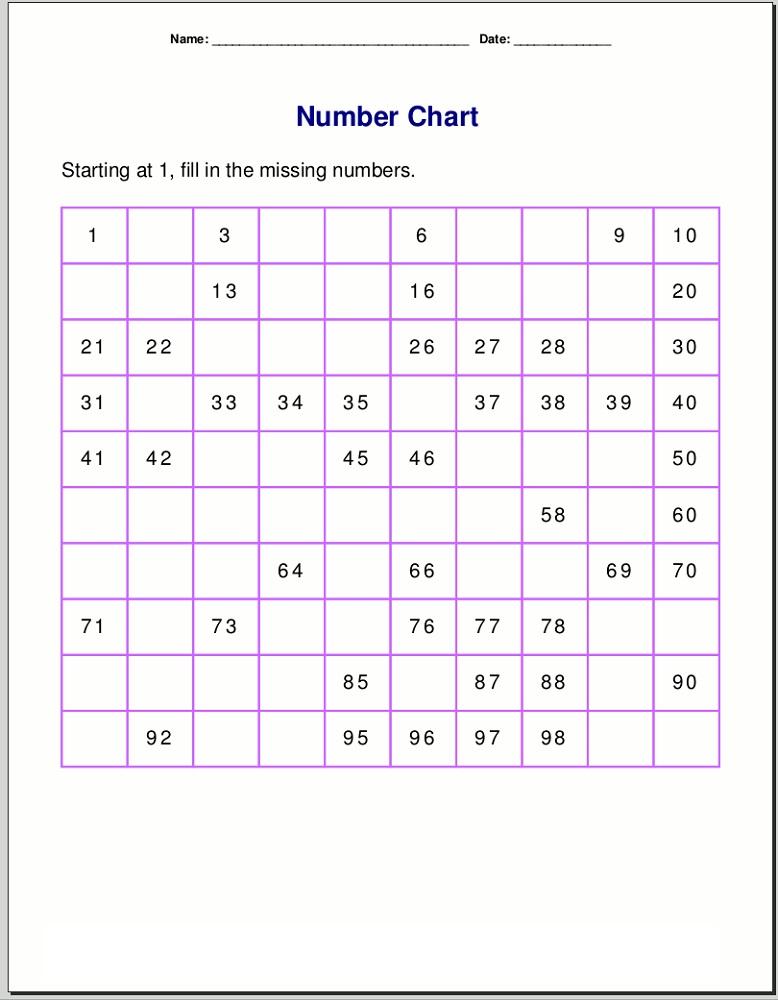 number worksheets 1-100 for kids