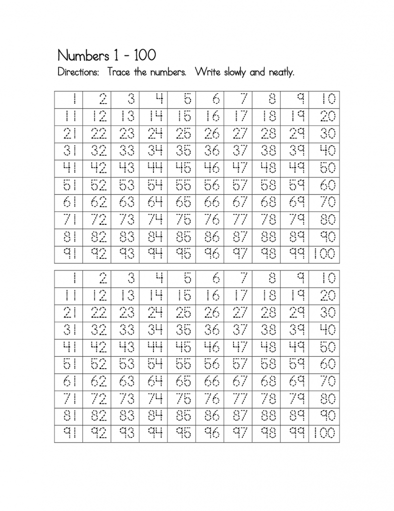 number worksheets 1-100 free