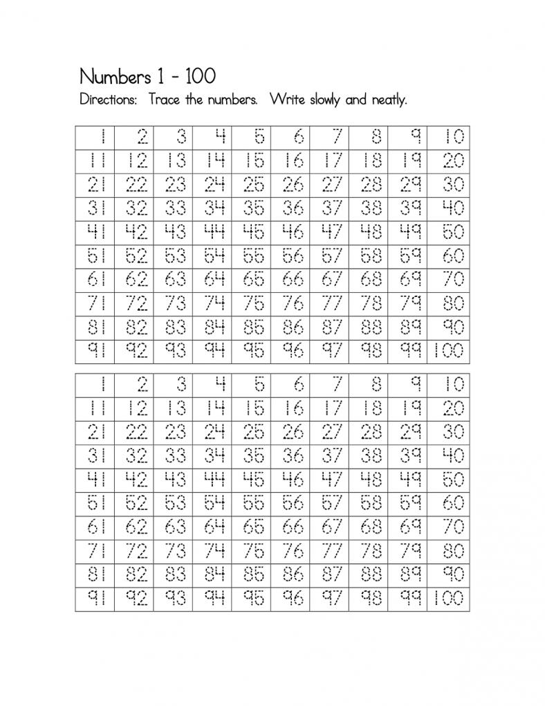 number worksheets 1-100 free