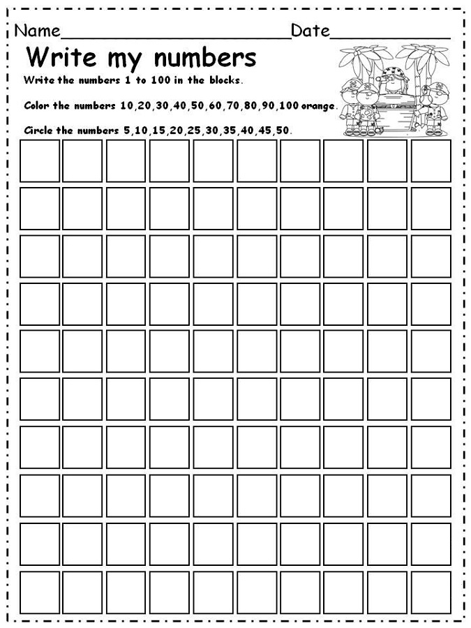 number worksheets 1-100 practice