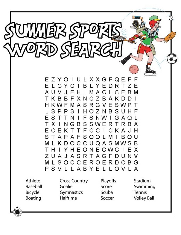 free sport word searches activity shelter. Black Bedroom Furniture Sets. Home Design Ideas