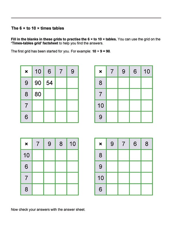 times table practice sheets for kids